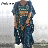 BHflutter XXL 3XL 4XL Plus Size Women Clothing Print Casual Summer Dress Batwing Vintage Maxi Dress Bohemian Beach Dresses 2018