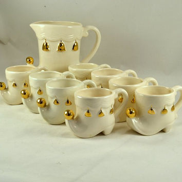Elf Shoe Tom & Jerry Set - Pitcher w/ 8 cups - White w/ Gold Trim - Marked Akins - Christmas Beverage