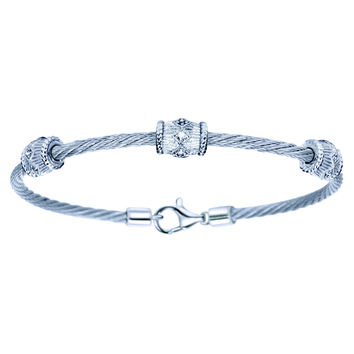 Gabriel Sterling Silver & Steel Cable Stackable Diamond Bangle Bracelet