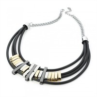 Allie Black Cord Metallic Necklace