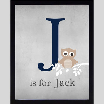 Monogram First Initial, Owl on Branch Navy Taupe Wall Art CUSTOMIZE YOUR COLORS 8x10 Prints, nursery decor nursery print art baby room decor