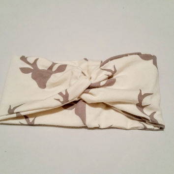 Cream Buck Print Turban Headband