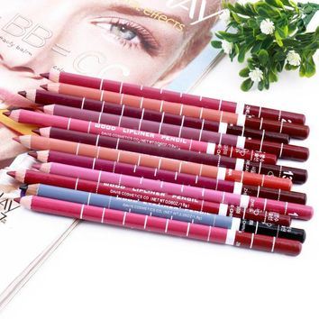 Professional Lipliner pencil Waterproof wooden blend Lip Liner Pencil 15CM 12 Colors Per Set  makeup lipstick tool top quality