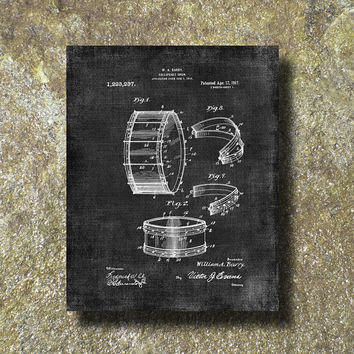Collapsible Drum Patent Print 1917 Art Illustration Printable Instant Download Poster UP008gr