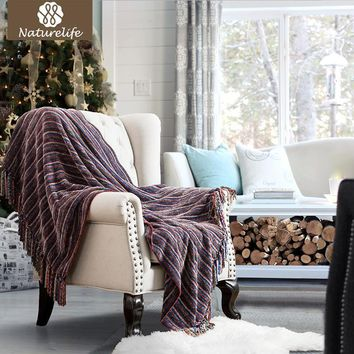 Christmas Decorative Blanket Chenille Striped Throw with Tassel for Sofa Bed Travel Blanket