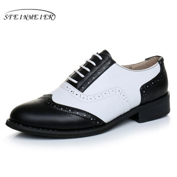 Genuine leather big shoes women US size 11 handmade flat black white 2017 vintage British style oxford shoes for women with fur