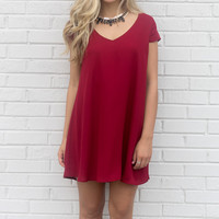 Champagne Toast Burgundy V-Neck Chiffon Cap Sleeve Shift Dress