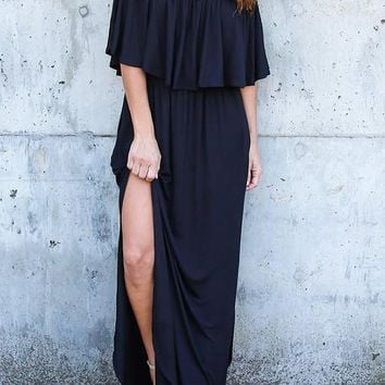 Black Pockets Pleated Ruffle Off-Shoulder Backless Double Slit Beach Party Maxi Dress