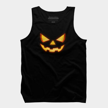 Scary Halloween Horror Pumpkin Face Tank Top By Badbugs Design By Humans