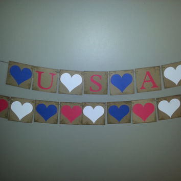 Patriotic Hearts and USA Banners , 4th of July Banner,USA Banner ,USA Bunting,Red White and Blue Banner,4th of July Decor, Patriotic Bunting