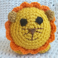 Hand Crocheted Toy - Yellow Lion - Toddler Gift