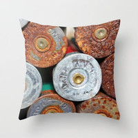 Shotgun Shell, Men Decor, Southern. Rusty Rustic. Bullets, Pillow Cover