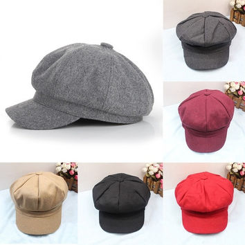 2015 Women & Men Unisex Octagonal Bucket Casual Hat Golf Driving Cool Flat Cap Top = 1958026244