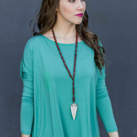 Long Sleeve Round Neck Piko Top in Green