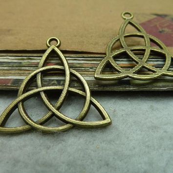 10 PCs Antique Bronze Celtic Knot Flower Of Life Charm Pendant C7146