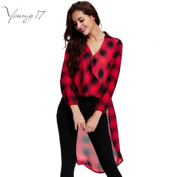 YOUNG17 WOMEN BLOUSE SHIRTS FASHION STYLISH SEXY V NECK GINGHAM CAMISETA PLUS SIZE 2XL RED PLAID HIGH LOW HEM WOMEN BLOUSES SALE