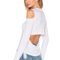 MONROW Open Back Cut Out Tee in White