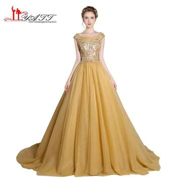 Prom Dress Evening Gown 2017 New Design Gold Luxurious Beads Sequins Top Puffy Sexy See Through Tulle Formal Long Gown