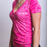 Women's Burnout Crossover V-Neck - Shocking Pink