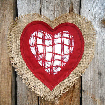 Valentines Day Decor Heart Decor Burlap Wedding Decor Wedding Favor Valentine Favor Valentine Heart Hanging Heart Rustic Decor Linen Heart