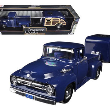 1956 Ford F-100 Pickup Truck Blue with Tear Drop Trailer 1-24 Diecast Model by Motormax