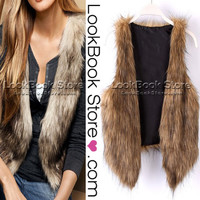 Lookbookstore Warm Women Plush Hairy Shaggy Soft Faux Fur Vest Waistcoat Cardigan Gilet Jacket @lookbookstore #lookbookstore