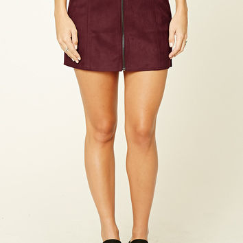 Faux Suede Zip-Front Mini Skirt