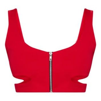 Red Zip Front Cut Out Crop Top