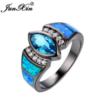 JUNXIN Charming Ocean Blue Opal Rings Aqua/White CZ 10KT Black Gold Filled Women Engagement Ring Fashion Style RB0269
