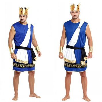 Fantasia adulto Men Nordic mythology King Zeus Cosplay Halloween Costumes Carnival Purim Masquerade Rave party Stage play dress