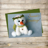 Holiday Printable Greeting Card- Crochet Snowman Christmas Card Instant Download