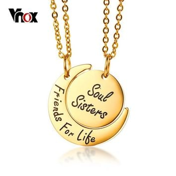 Soul sisters friends for life gold stainless steel best friends necklace