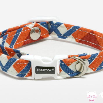 Marcus Cat Collar - Orange Red - Breakaway Safety Buckle - Sizes for Cat, Kitten, Dog