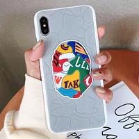 Bape Aape New fashion letter pattern print leather couple protective cover phone case Gray