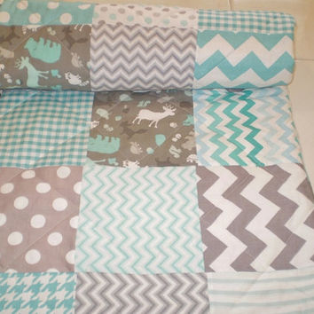 Baby quilt,grey,teal,aqua,Patchwork crib quilt,baby boy bedding,baby girl quilt,woodland,rustic,chevron,deer,bear,blanket,dot,toddler modern