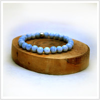 RARE Blue Lace Agate/ Energy Bracelet / Mala Meditation Bracelet / Healing / Health and Calmness / Yoga Bracelet / Power Beads / Peace