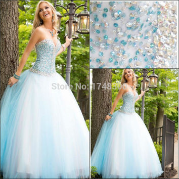 Light Sky Blue Tulle Sweetheart Ball Gown Quinceanera Dresses Heavy Crystal Sweet 16 Dresses Prom Dress Vestido Longo Plus Size
