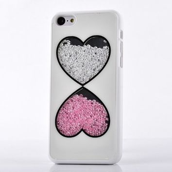 Meaci Apple Iphone 5c Case Glitter Bling Neon Rhinestone Series Protective Case -Heart (Xiv)