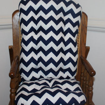 Navy Chevron High Chair Cushions, High Chair Pads, High Chair Cover, Highchair Pads
