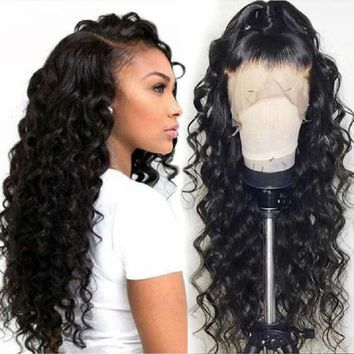 Cool Loose Wave Wig Brazilian Lace Front Human Hair Wigs For Women With Black Pre Plucked Bleached Knots Lace Front Wig Full End RemyAT_93_12
