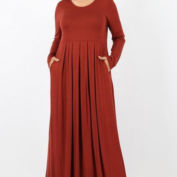 Plus Size Pleated Waist Long Sleeve Dress With Side Pockets