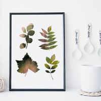 Leaf art print, botanical art print, watercolor leaf art, nature art print, minimal & simple illustration, home decor, gift, nursery decor