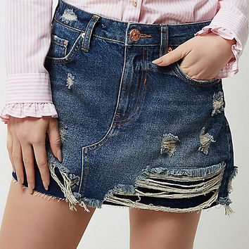 Blue ripped mini denim skirt - mini skirts - skirts - women