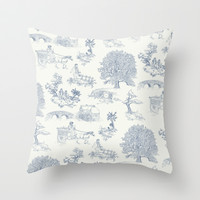 Shire Toile Throw Pillow by Jackie Sullivan