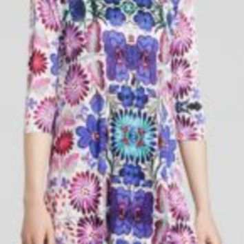 FREE PEOPLE FLORAL-PRINT SHIFT DRESS WHITE COMBO M