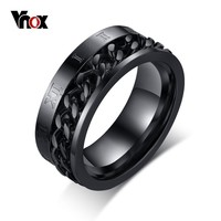Vnox Rock Punk Men's Spinner Ring Stainless Steel 8mm Rings Black/Gold/Silver Color Chain Cocktail Rings US Size 8-12