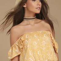 Amuse Society Mariposa Yellow Floral Print Off-the-Shoulder Top
