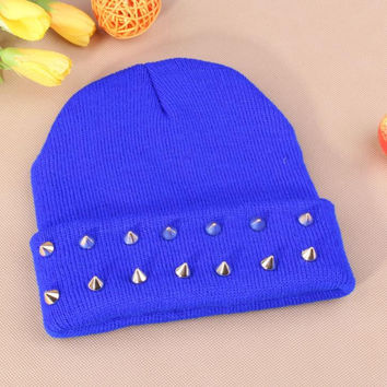Gothic Punk Industrial Emo Edm Ebm Rave Rock Metal Stud Bullet Autumn Winter Warm Womens & Mens Knitted Beanie Blue Cuffed Skully Hat