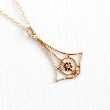 Antique Diamond Pendant - 10k Rosy Yellow Gold Buttercup Flower Single Cut Necklace - Vintage 1910s Lavalier Edwardian GF Chain Fine Jewelry