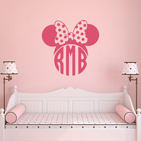 Minnie Mouse Wall Decals For Girls- Monogram Decal- Custom Decal Stickers- Monogram Letters Wall Decal- Minnie Mouse Baby Wall Decor 129